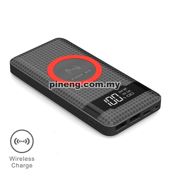 PINENG PN-886 10000mAh Qi Wireless Polymer Power Bank - Black