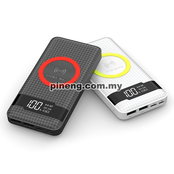 PINENG PN-886 10000mAh Qi Wireless Polymer Power Bank - White