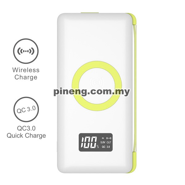 PINENG PN-888 10000mAh Quick Charge 3.0 Qi Wireless Polymer Power Bank
