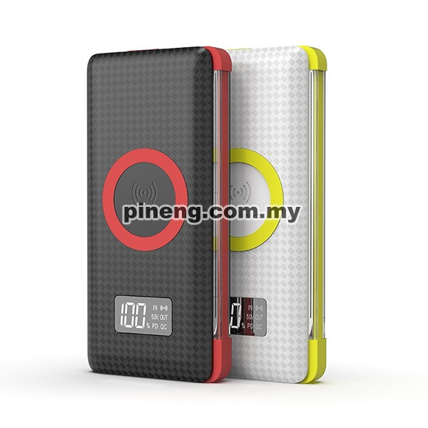 PINENG PN-888PD 10000mAh Quick Charge 3.0 Qi Wireless Type-C PD Polymer Power Bank - White