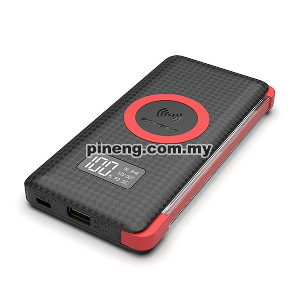 PINENG PN-888PD 10000mAh Quick Charge 3.0 Qi Wireless Type-C PD Polymer Power Bank - Black