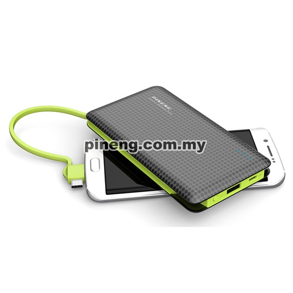 PINENG PN-956 10000mAh Built-In 2 Cable Lithium Polymer Power Bank - Black Green