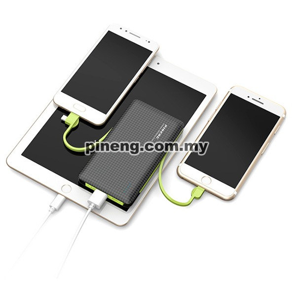 PINENG PN-956 10000mAh Built-In 2 Cable Lithium Polymer Power Bank - White