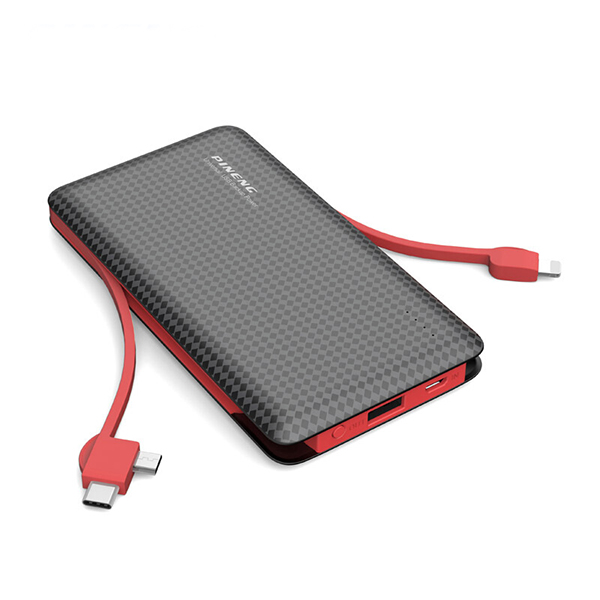 PINENG PN-956 10000mAh Built-In 2 Cable Lithium Polymer Power Bank - Black Red