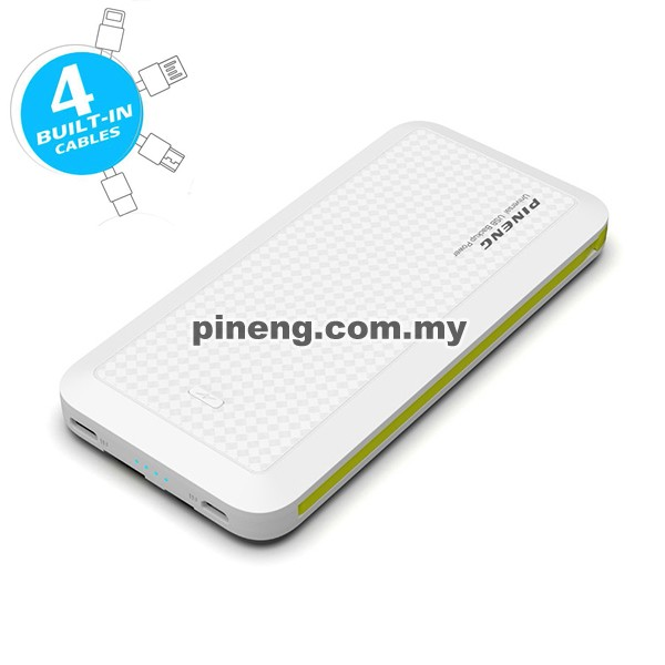 PINENG PN-957 10000mAh Built-In 4 Cable Lithium Polymer Power Bank - White