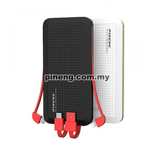 PINENG PN-957 10000mAh Built-In 4 Cable Lithium Polymer Power Bank - Black