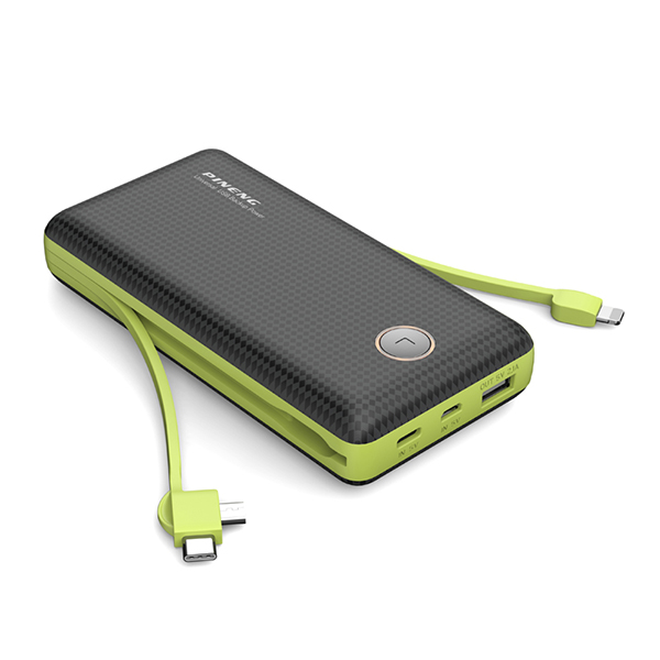 PINENG PN-959 20000mAh Built-In 2 Cable Lithium Polymer Power Bank - Black Green