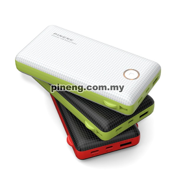 PINENG PN-959 20000mAh Built-In 2 Cable Lithium Polymer Power Bank - Black Red
