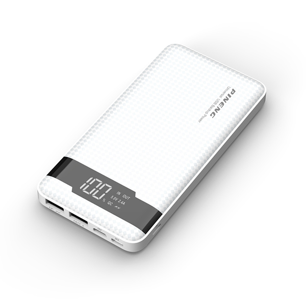PINENG PN-961 10000mAh 3 Input Quick Charge 3.0 Lithium Polymer Power Bank - White