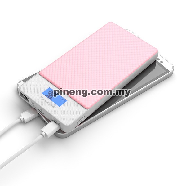 PINENG PN-993 10000mAh Quick Charge 3.0 Type C Polymer Power Bank - Pink