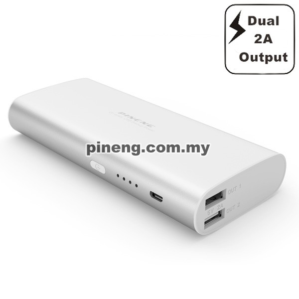PINENG PN-998 10000mAh Power Bank - Silver