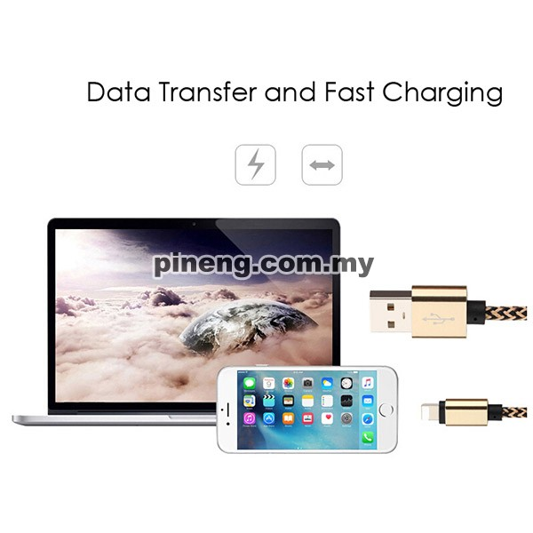 Lightning Nylon Data Sync & Charging Cable - Short