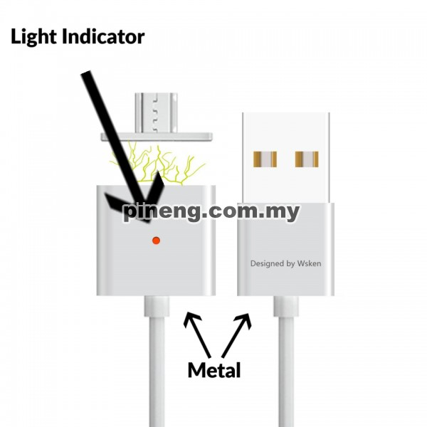 WSKEN Dual Metal Magnetic Micro USB X-Cable With Indicator