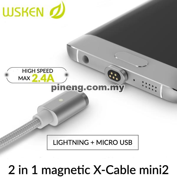WSKEN MICRO USB + LIGHTNING MAGNETIC MIN...