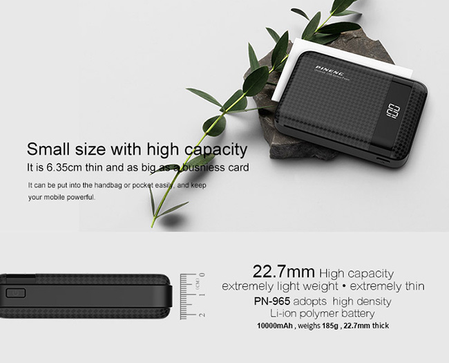 PINENG PN-965 10000mAh Lithium Polymer Power Bank - Black